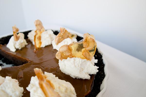 chocolate ganache dulce de leche tart