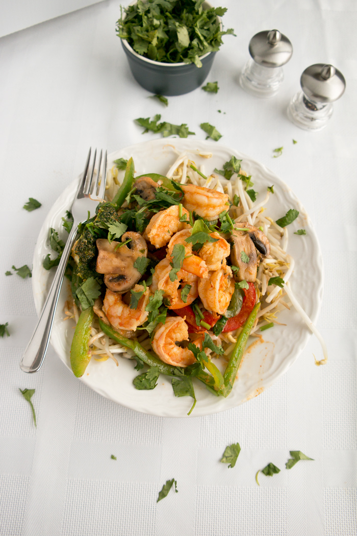 coconut curry shrimp on bean sprouts
