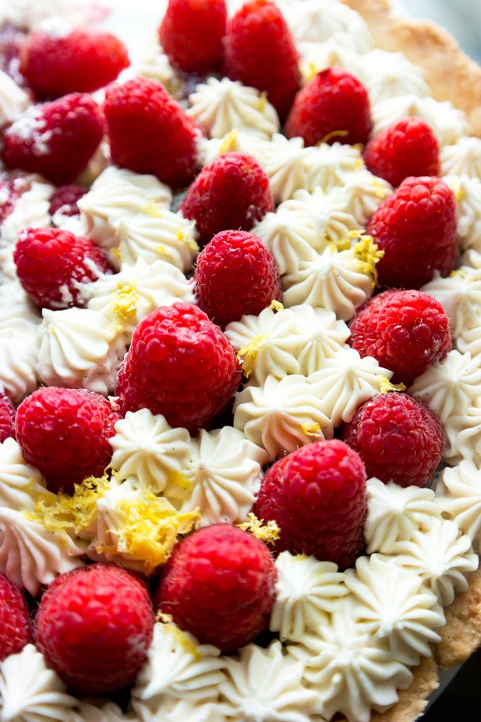 white chocolate raspberry lemon tart