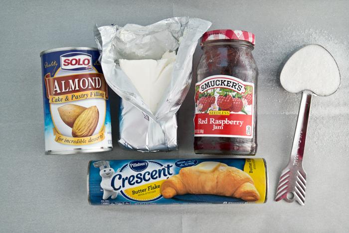 cream cheese raspberry almond crescents