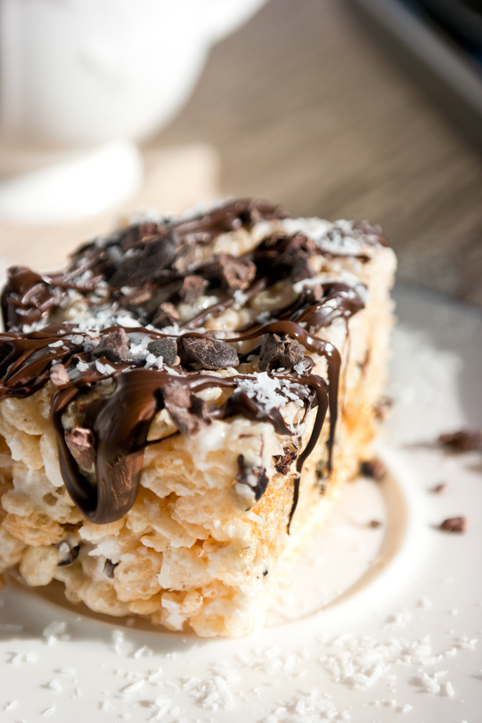 coconut cocoa nib rice krispy treats