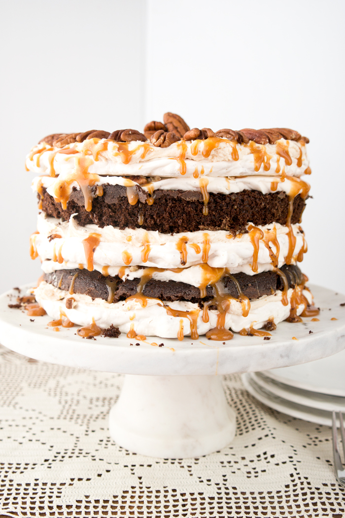 Butterscotch Pecan Dacquoise Cake