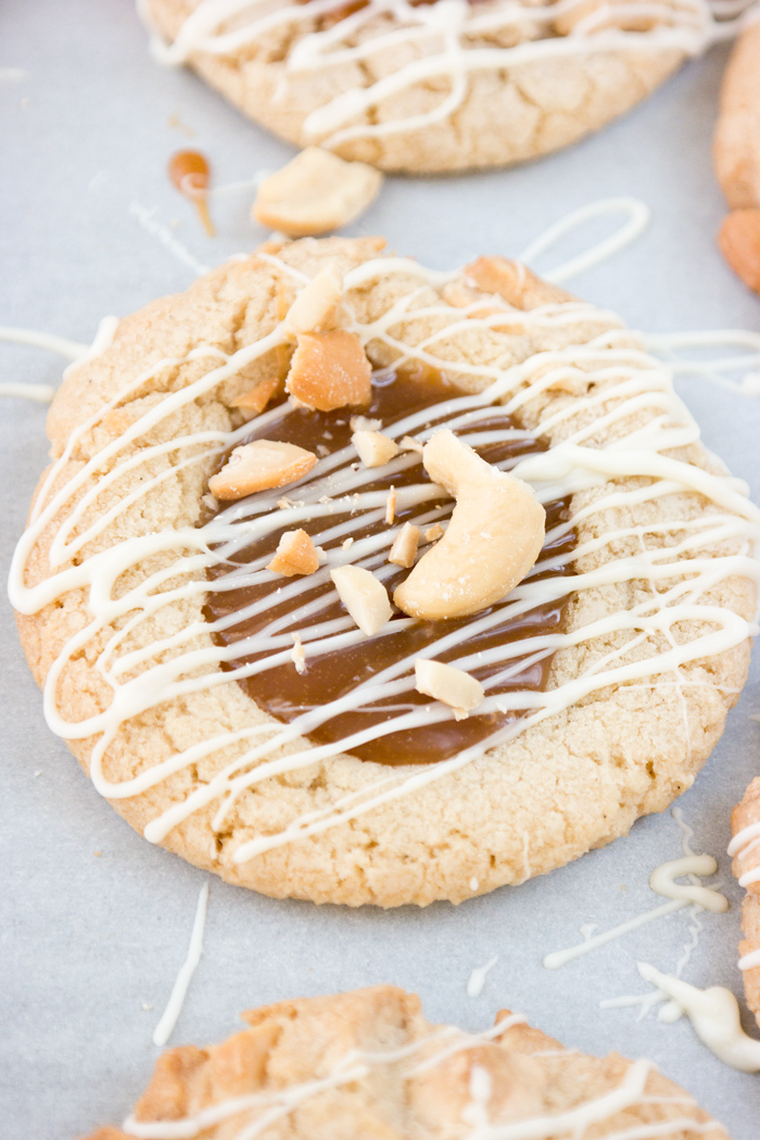 White Chocolate Salted Cashew Caramel Cookie