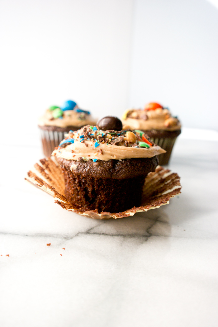 Peanut Butter Frosted Chocolate Cupcakes
