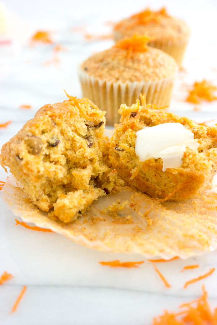 Moist Carrot Walnut Muffins