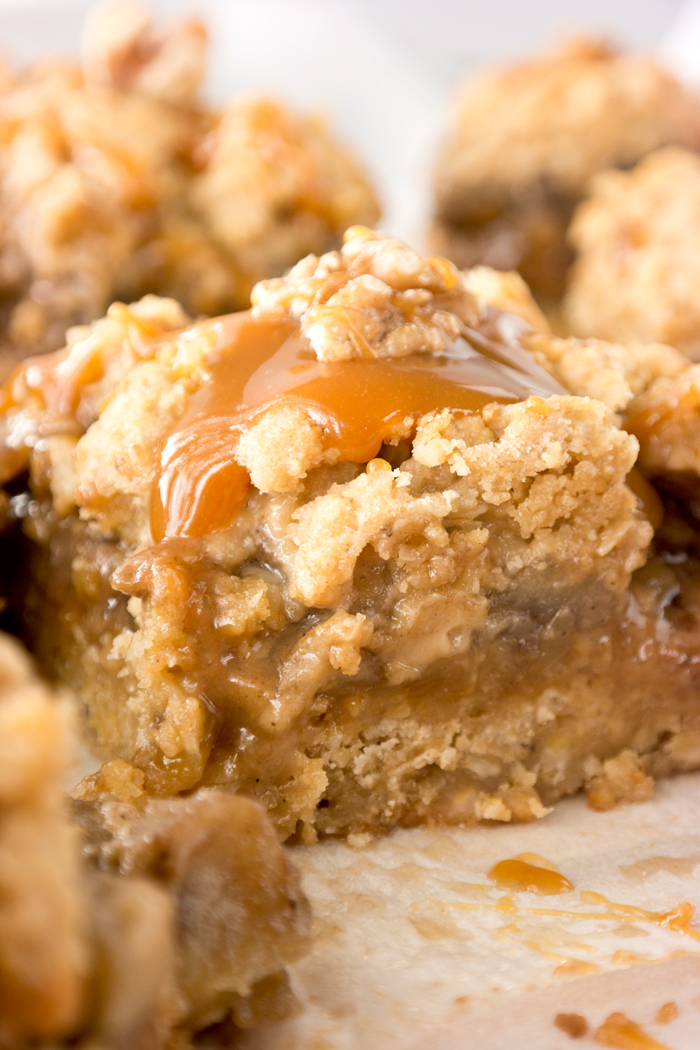Caramel Apple Walnut Oat Bars