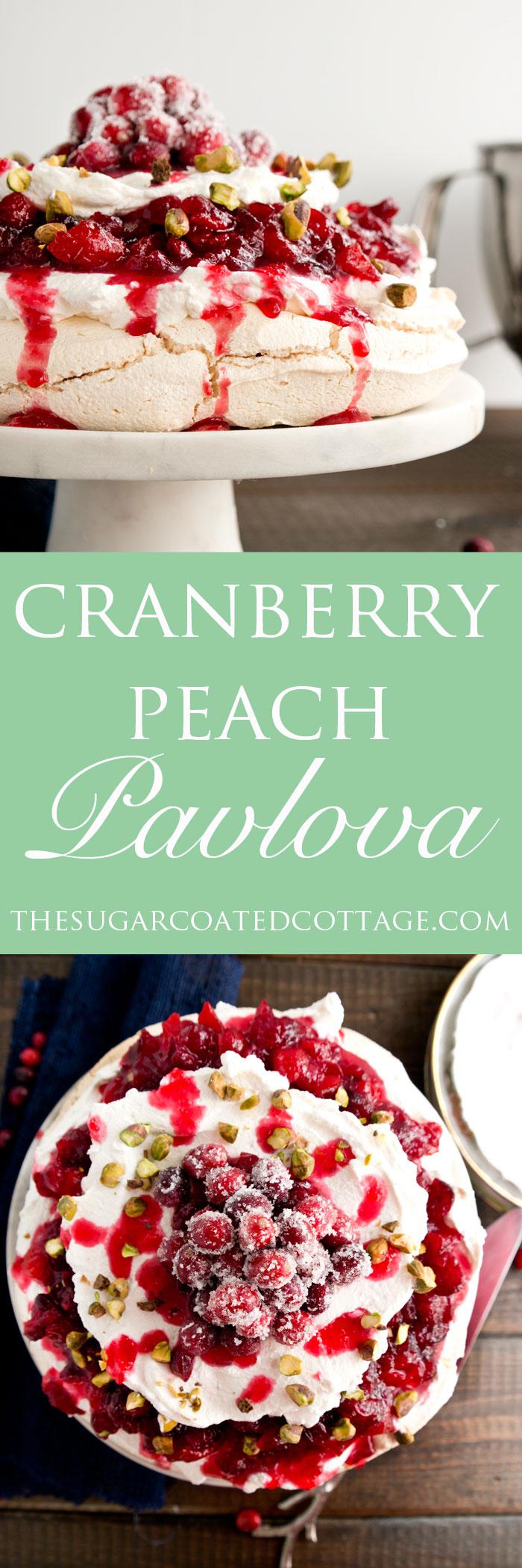 Cranberry Peach Pavlova