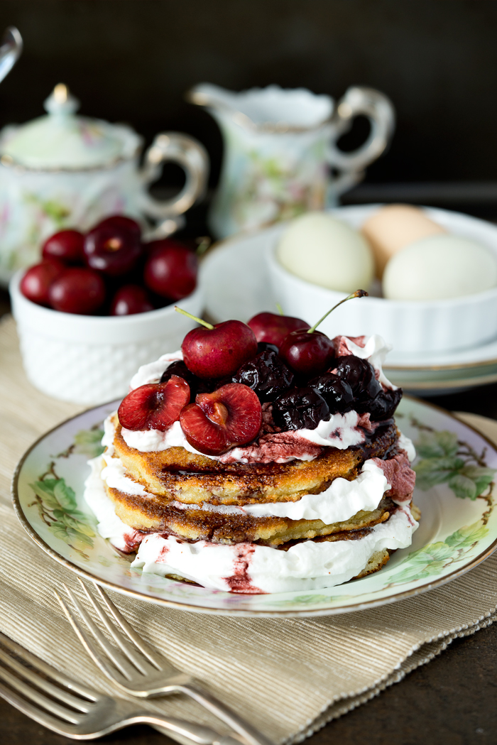Brandy Cherry Compote on Almond Flour Pancakes