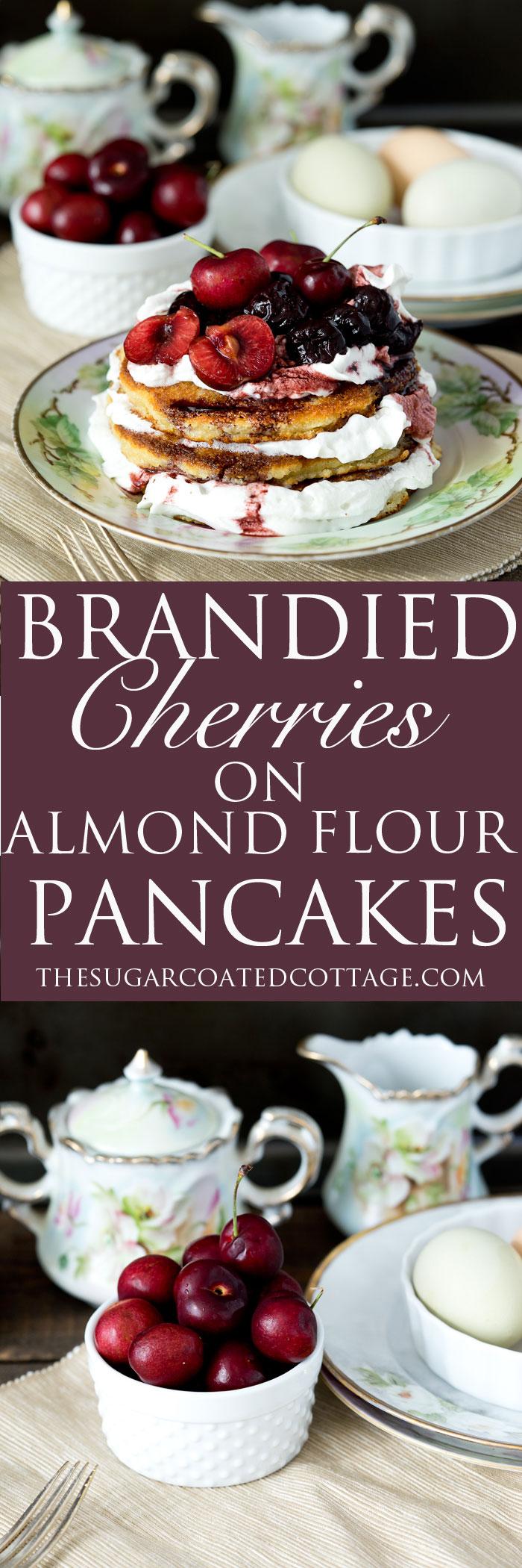 Brandy Cherry Compote on Almond Flour Pancakes