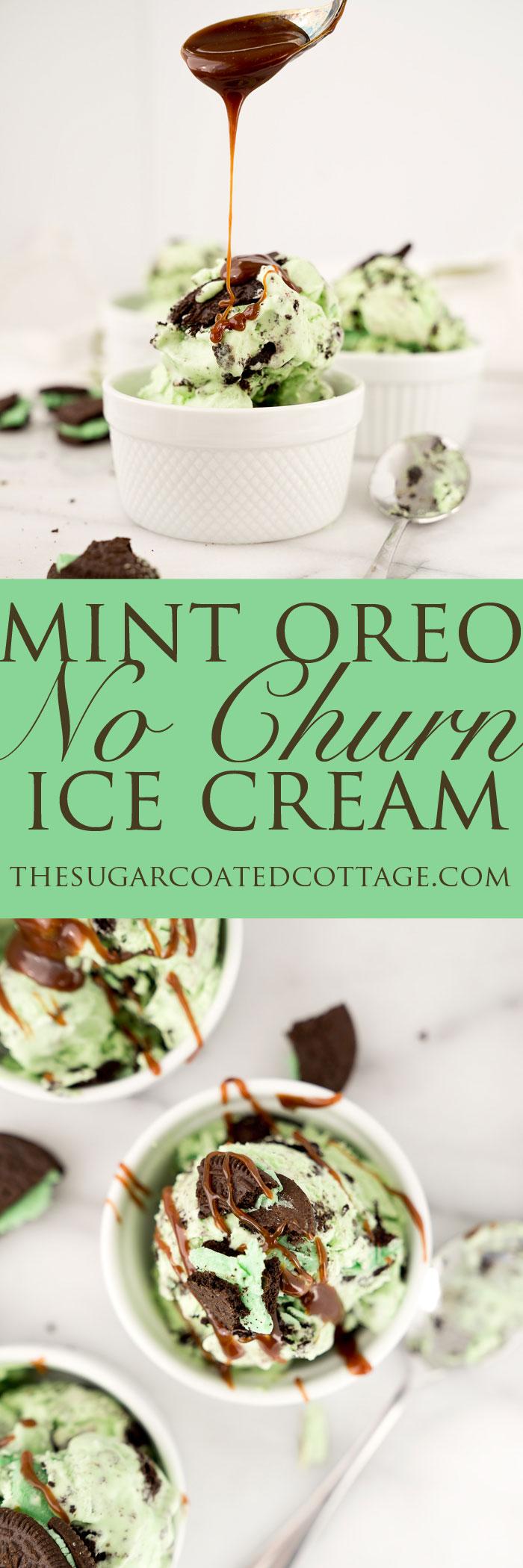Minty Oreo No Churn Ice Cream