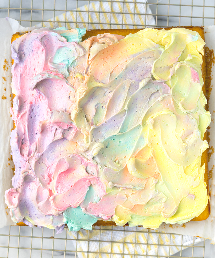 Rainbow Frosted Sheet Cake