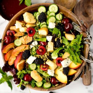 Stone-Fruit-Summer-Salad-with-Balsamic-Blackberry-Vinegarette