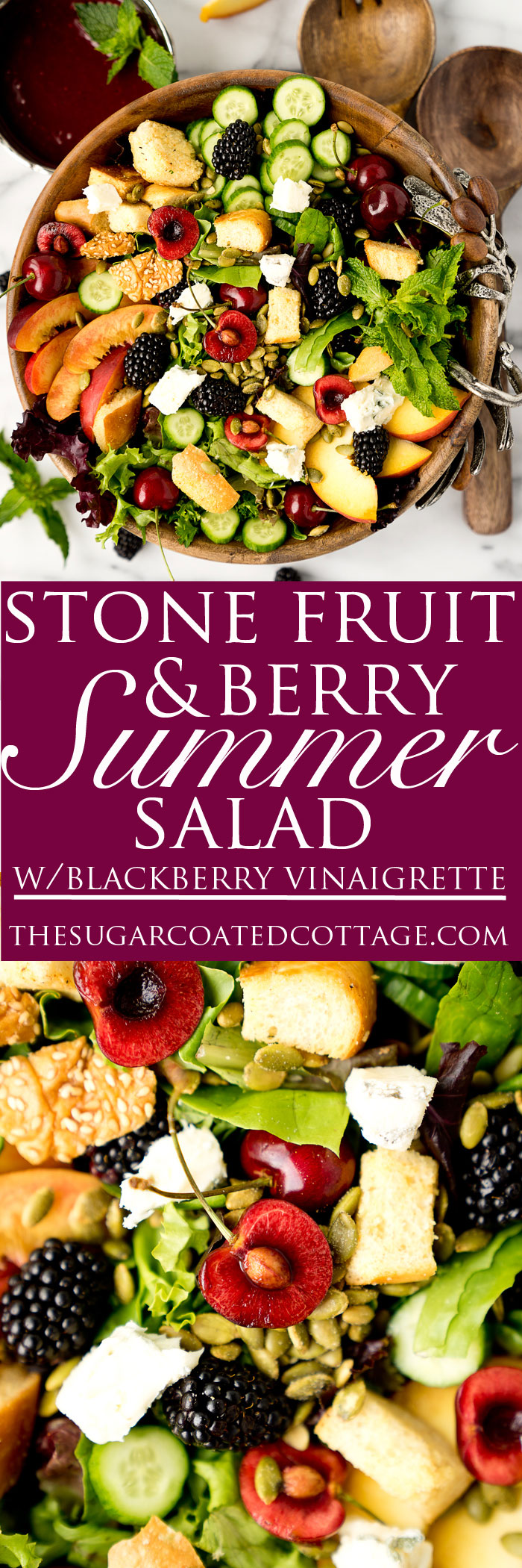Stone Fruit and Berry Summer Salad with Balsamic Blackberry Vinaigrette. The salad you've been waiting for this summer! Peaches, nectarines, blackberries, cherries, herbs, roasted pepitas, toasty bread, cucumbers and gorgonzola. All drizzled with a generous serving of Balsamic Blackberry Vinaigrette dressing. | thesugarcoatedcottage.com
