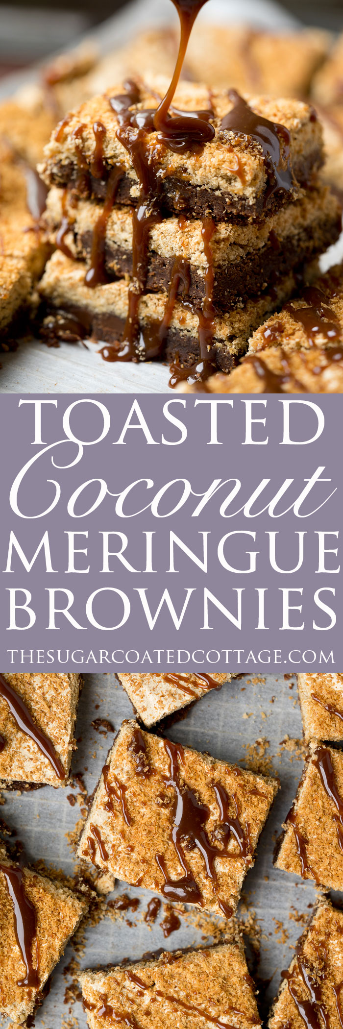 Dreamy Toasted Coconut Meringue Brownies! The only brownie recipe you need! Chocolatey, fudgey, chocolate chip studded brownie topped with a crisp, rich layer of brown sugar coconut meringue.