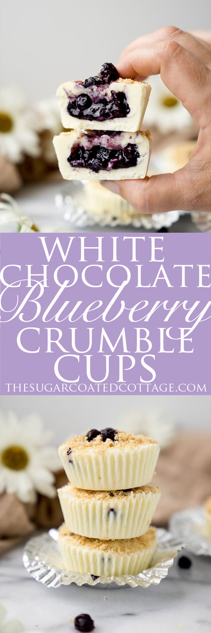 White Chocolate Blueberry Crumble Cups. Loving this simple, no bake, classic blueberry crumble inside of a creamy white chocolate cup. New take on a summer classic. | thesugarcoatedcottage.com
