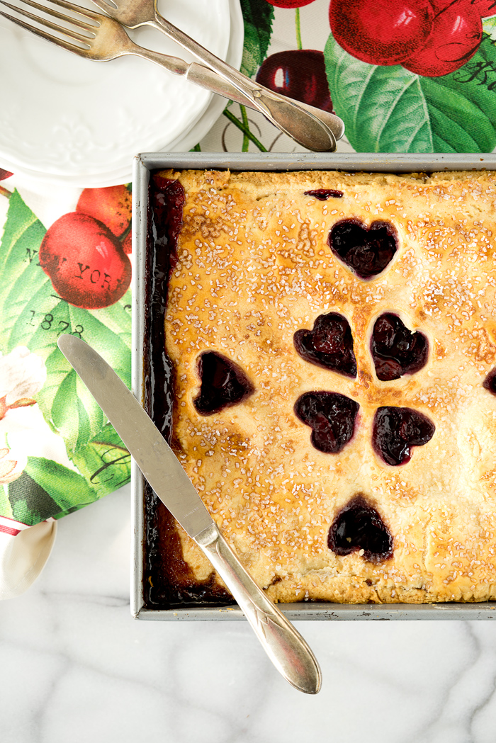 1/2 Slab Cherry Pie. Simple recipe for a small family sized Classic Cherry Slab Pie. | thesugarcoatedcottage.com