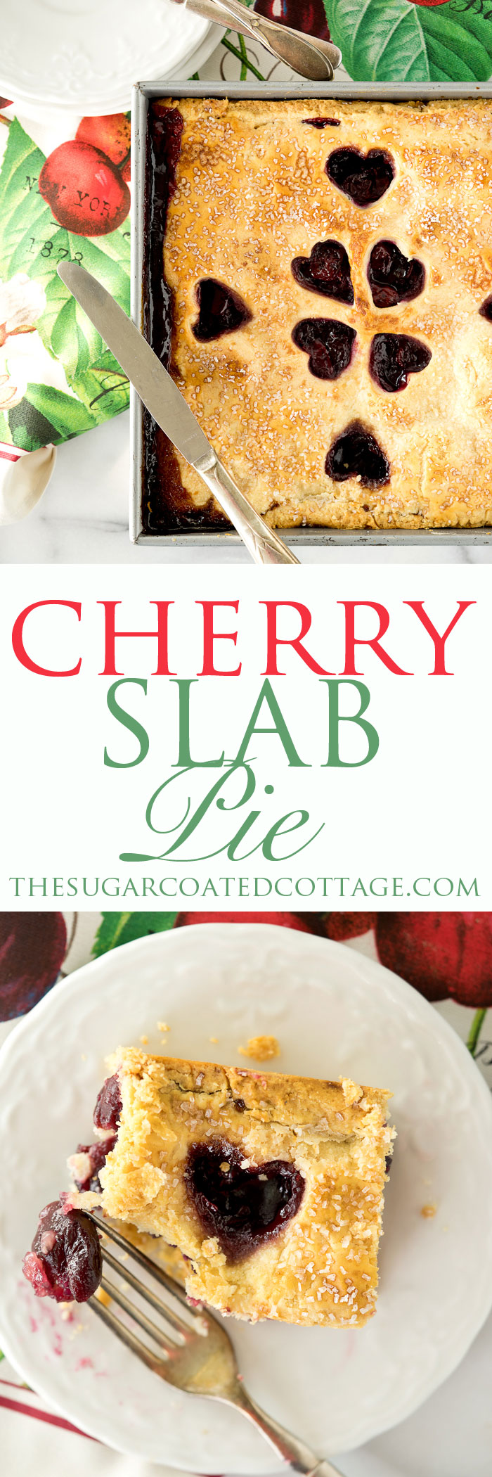 1/2 Slab Cherry Pie. Simple recipe for a small family sized Classic Cherry Slab Pie.   thesugarcoatedcottage.com