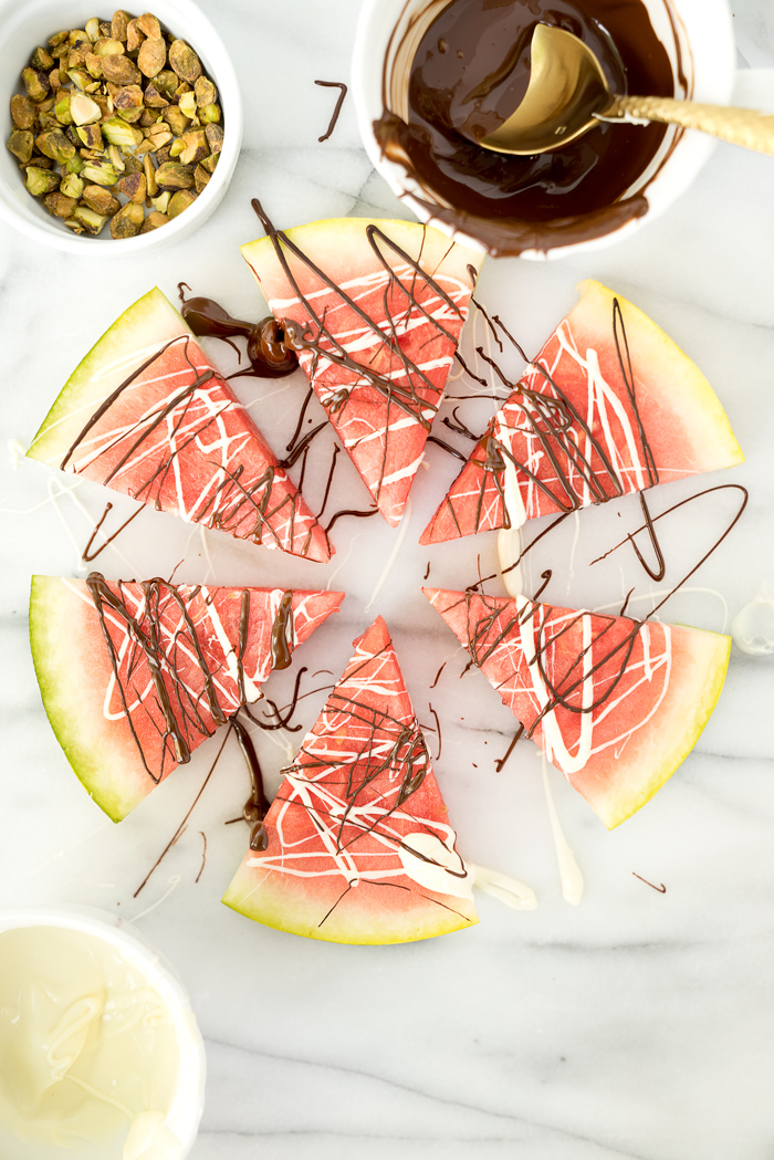 Chocolate Drizzled Pistachio Watermelon Wedges