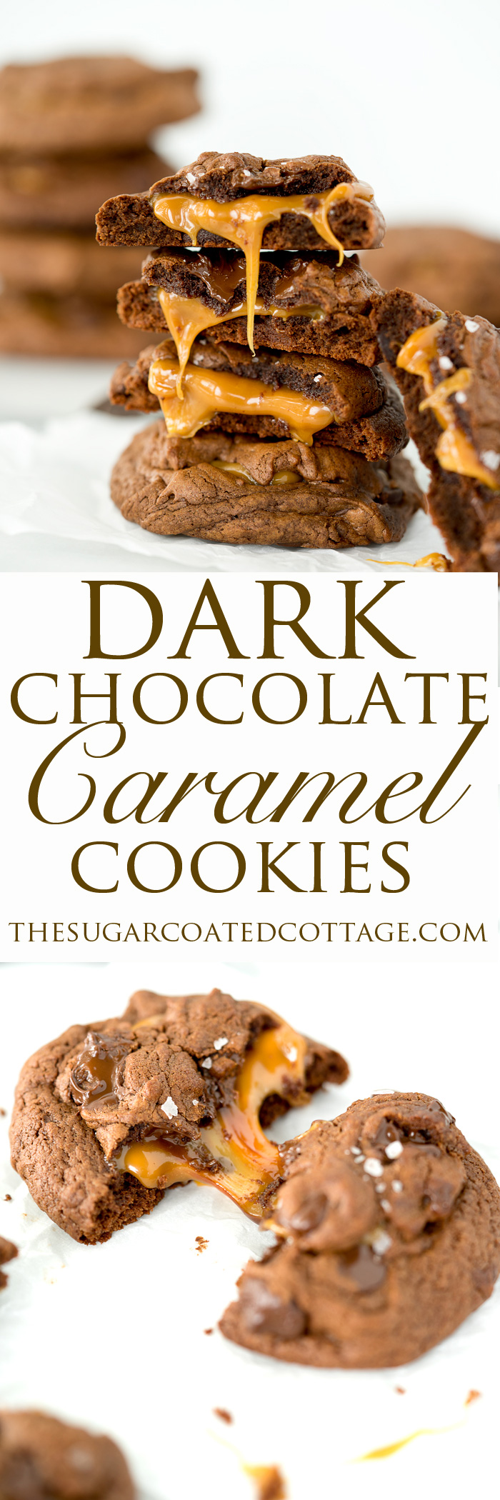 Dark Chocolate Caramel Stuffed Cookies. The best cookie recipe ever! Deep, dark chocolate. Gooey caramel and a sprinkling of flaky sea salt. | thesugarcoatedcottage.com