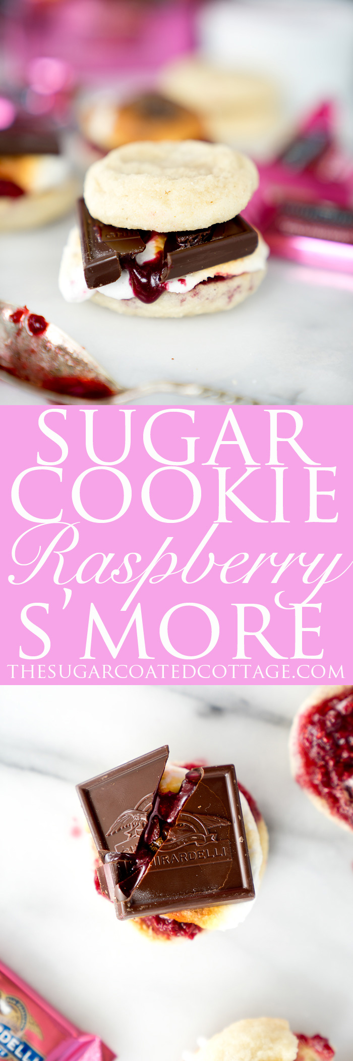 Raspberry Sugar Cookie S'mores. The best twist on a traditional recipe. Soft, pillowy, buttery sugar cookies, toasted marshmallows and homemade raspberry sauce make these the s'mores of your dreams. | thesugarcoatedcottage.com