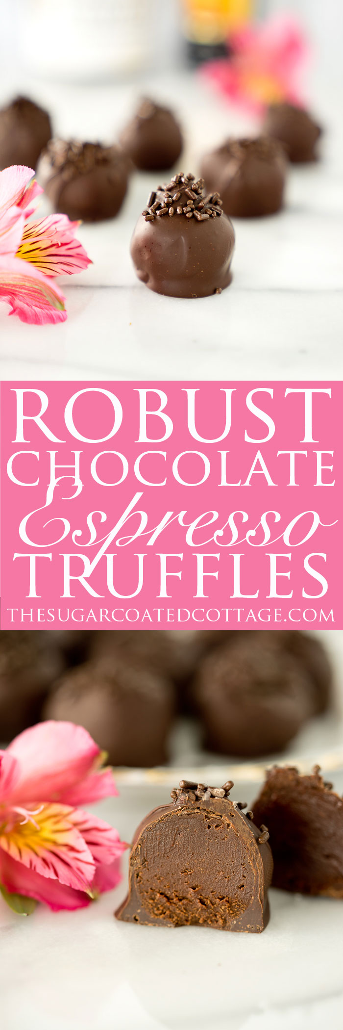 Robust Chocolate Espresso Truffles. Chocolate that snaps on the outside, smooth, creamy espresso center. You need this chocolate recipe! | thesugarcoatedcottage.com
