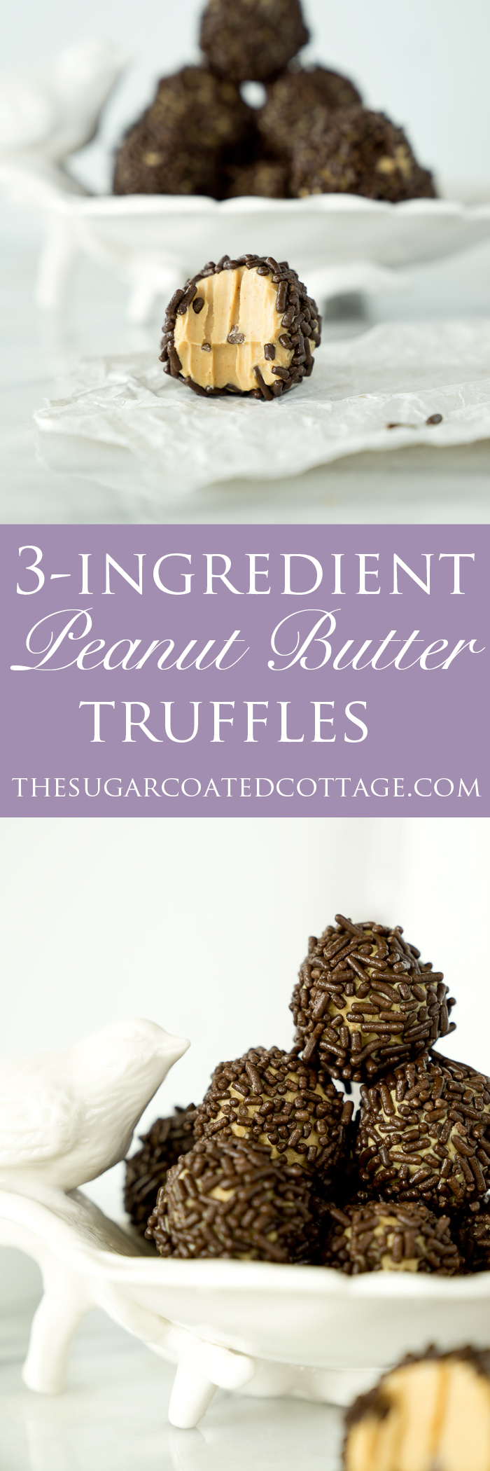 Easy 3 Ingredient Creamy Peanut Butter Truffles. The easiest 3 ingredient truffle recipe you'll ever make.| thesugarcoatedcottage.com