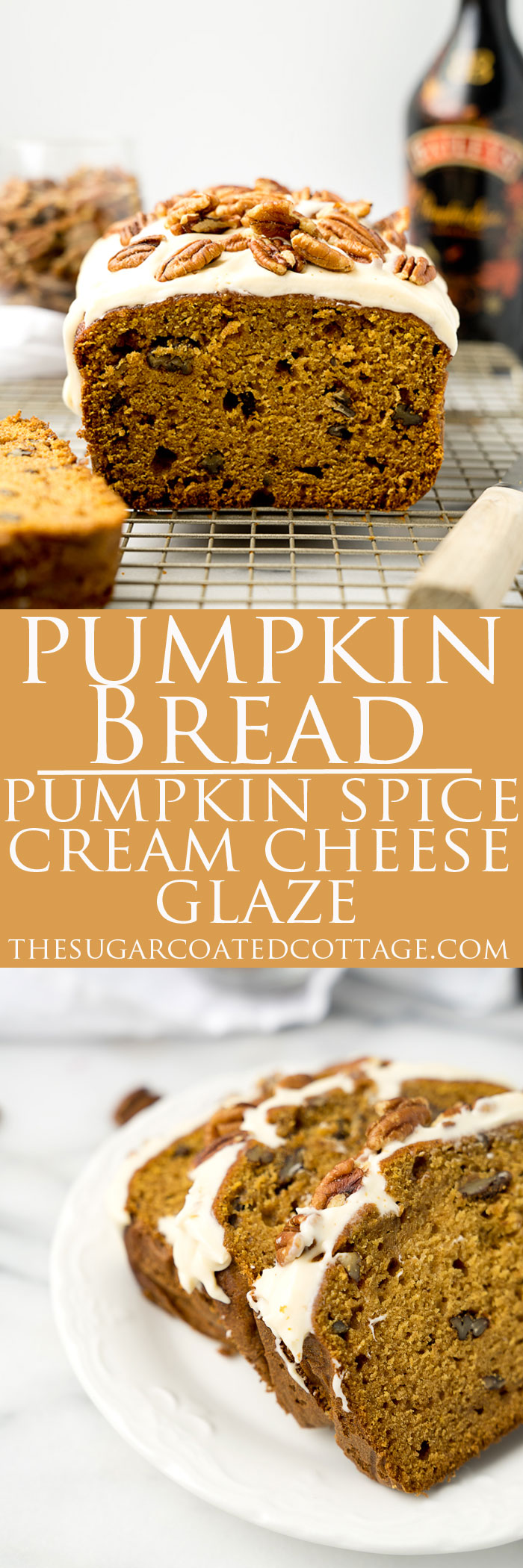Pecan Pumpkin Bread with Pumpkin Spice Cream Cheese Glaze. The best pumpkin bread recipe and glaze you'll ever eat. | thesugarcoatedcottage.com