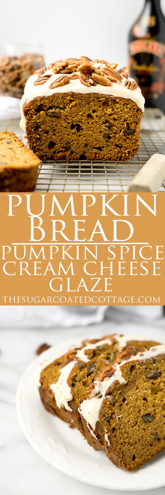 Pecan Pumpkin Bread with Pumpkin Spice Cream Cheese Glaze. The best pumpkin bread recipe and glaze you'll ever eat. | thesugarcoatedcottage.com