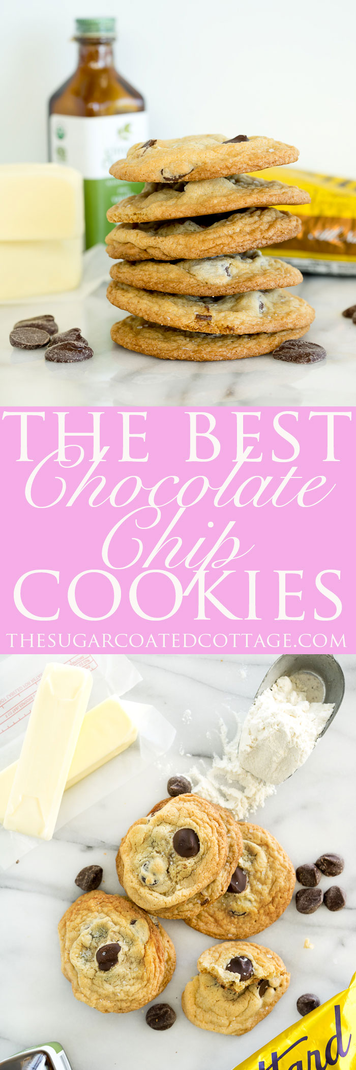 The Best Salted Chocolate Chip Cookie Recipe Ever. Crispy edges, chewy center, large baking chips and a sprinkling of sea salt make for one amazing cookie. | thesugarcoatedcottage.com