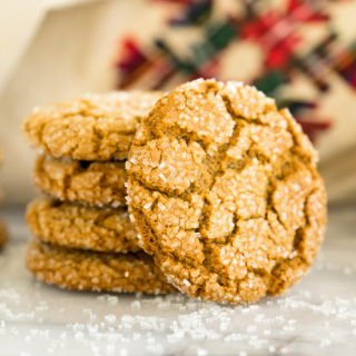 Gingery Ginger Snap Cookie recipe. Full of ginger, crinkled to perfection and coated in sanding sugar. If ever there was a holiday cookie this is it! | thesugarcoatedcottage.com