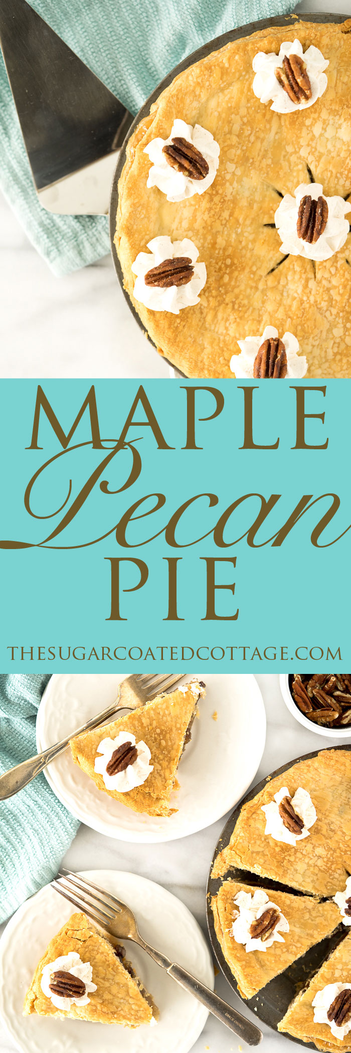 Simple Maple Pecan Pie with Cinnamon Whipped Cream. A traditional yet simple pie for any gathering. | thesugarcoatedcottage.com