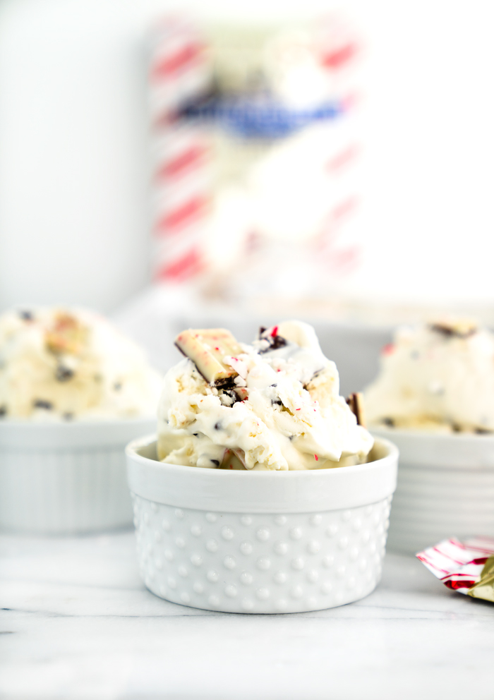 Peppermint Bark No Churn Ice Cream Recipe! Cold, creamy ice cream with pieces of cool, chocolately peppermint bark swirled in.   thesugarcoatedcottage.com