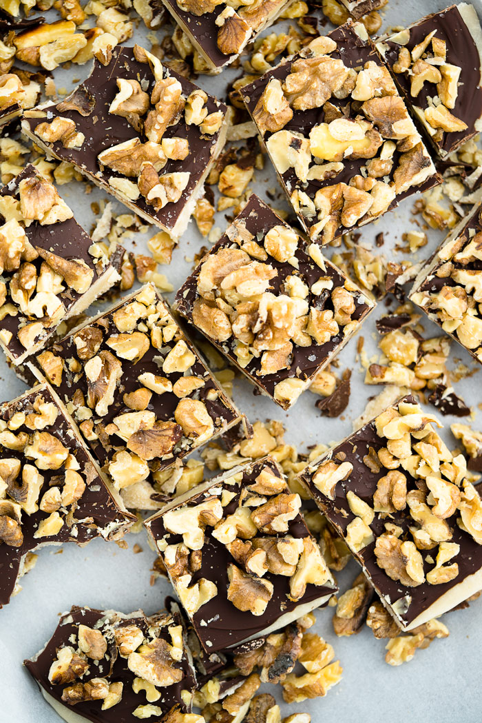 Chocolate Walnut Butter Crunch recipe!! Buttery, crunchy candy center coated in chocolate and sprinkled with roasted walnuts. | thesugarcoatedcottage.com