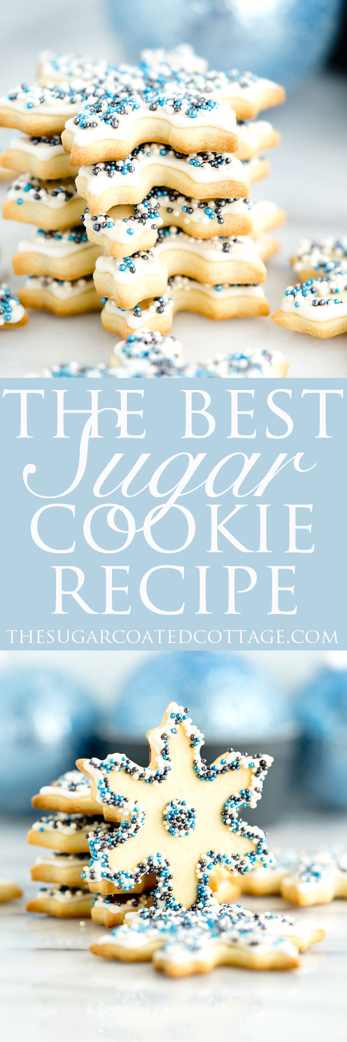 The Best Sugar Cookie Recipe. Perfect for cut out cookies, this dough does not require refrigeration before rolling out or before baking. And the dough doesn't spread when baking either! | thesugarcoatedcottage.com