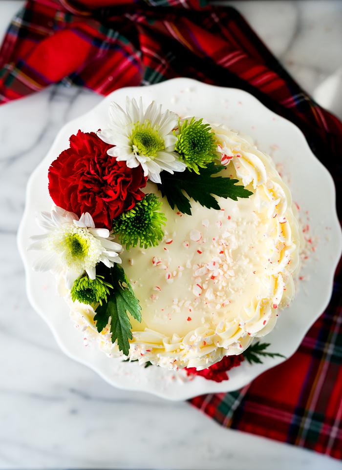 White Chocolate Peppermint Cake recipe. Lush white chocolate and cool, crisp peppermint make for a wonderfully delightful cake recipe.   thesugarcoatedcottage.com