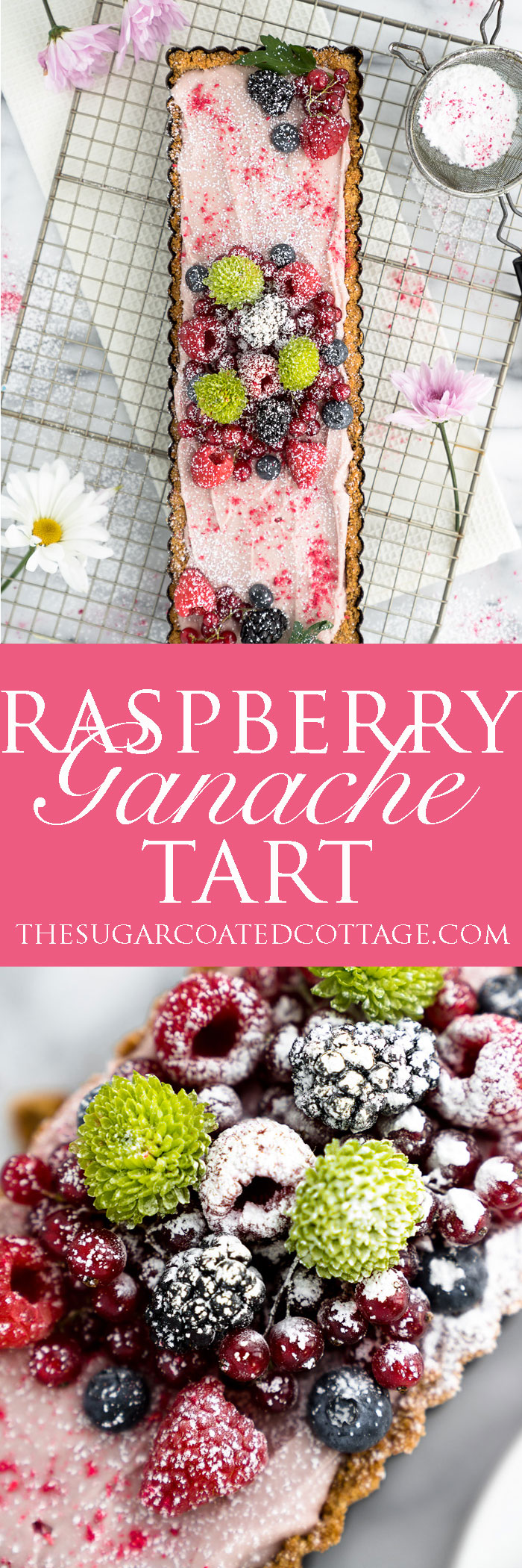 Raspberry Ganache Tart recipe. Smooth, rich and creamy raspberry ganache wrapped in a crunchy cookie crust. | thesugarcoatedcottage.com