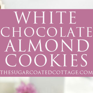 White Chocolate Roasted Almond Cookie Recipe. Crispy, crinkly, buttery cookies studded with crunchy roasted almonds and creamy white chocolate chips. | thesugarcoatedcottage.com