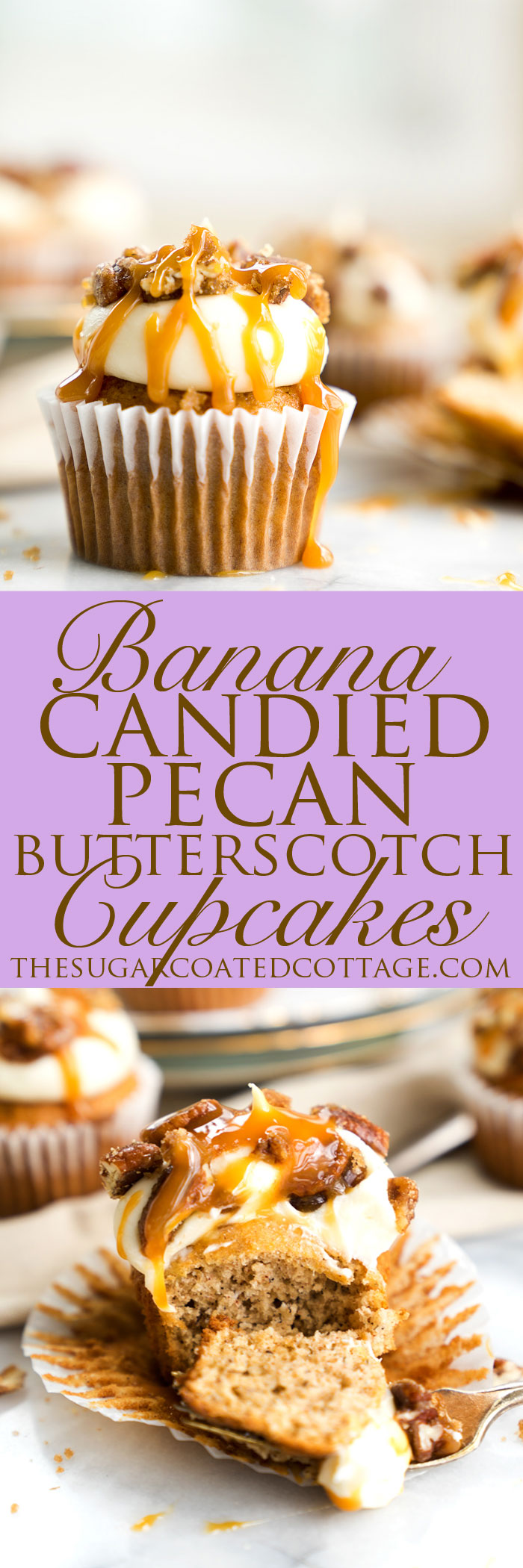 Candied Pecan Banana Cupcake Recipe. Easy stove top candied pecans crumbled on top of cream cheese frosting, drizzled with butterscotch on top of a sweet banana cupcake! | thesugarcoatedcottage.com, candied pecans, cream cheese frosting, butterscotch, banana, recipe, cupcake. #cupcake #recipe