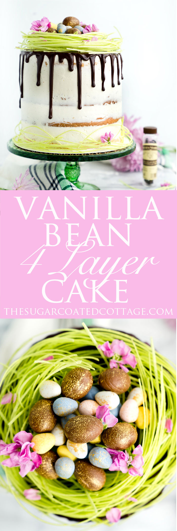Vanilla Bean Layer Cake Recipe. 4 layers of the best vanilla bean enhanced cake smothered in a layer of vanilla bean buttercream. Perfect cake recipe for any occasion including birthdays, Easter, 4th of July, Christmas. | thesugarcoatedcottage.com