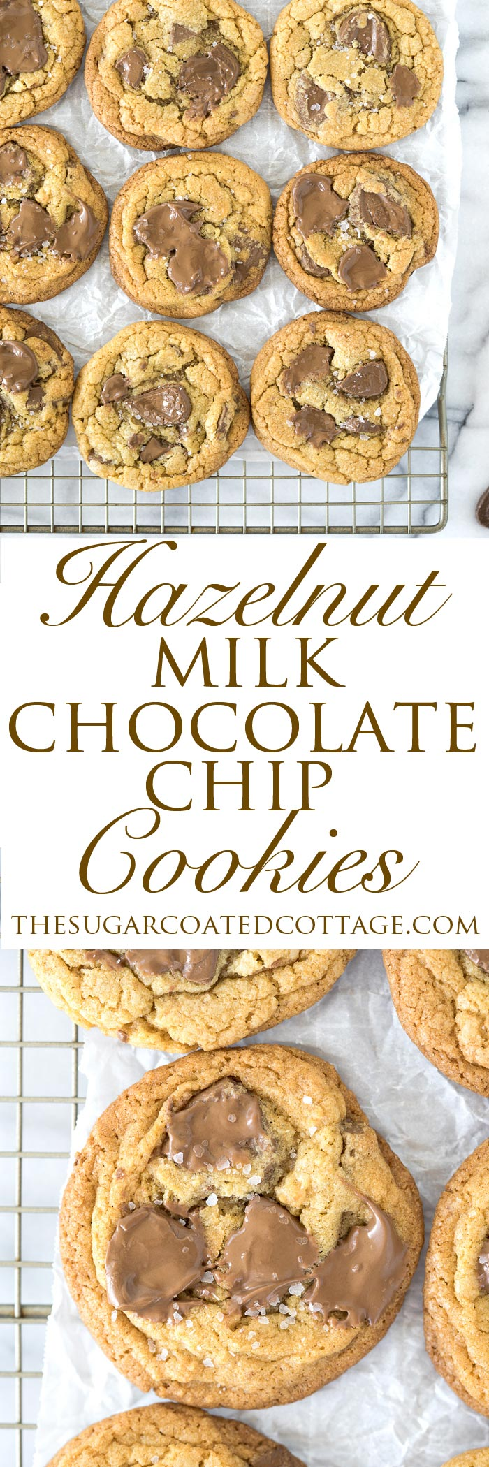 Valrhona Hazelnut Milk Chocolate Chip Cookie Recipe. This fabulous cookie is studded with Valrhona Hazelnut Milk Chocolate Feves (chips) and sprinkled with sea salt. Luxurious, smooth and creamy sums up this cookie! | thesugarcoatedcottage.com #valrhona #chocolatechipcookie #milk chocolate