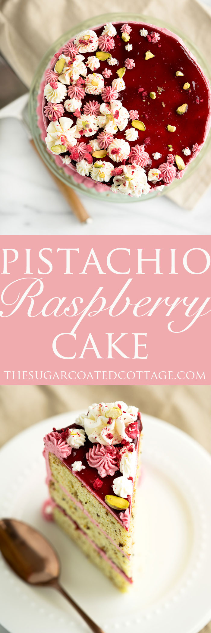 Pistachio Raspberry Cake Recipe. Deliciously nutty layers of cake enrobed in a beautiful raspberry swiss meringue buttercream. Looking for a unique cake for that special occasion then this is it! | thesugarcoatedcottage.com #cake #recipe #pistachiocake #buttercream #raspberry