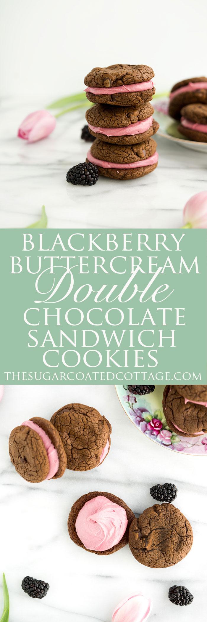 Blackberry Buttercream Double Chocolate Sandwich Cookie Recipe. Sweet blackberry buttercream sandwiched between two double chocolate cookies. #cookies #buttercream #recipe #blackberry | thesugarcoatedcottage.com
