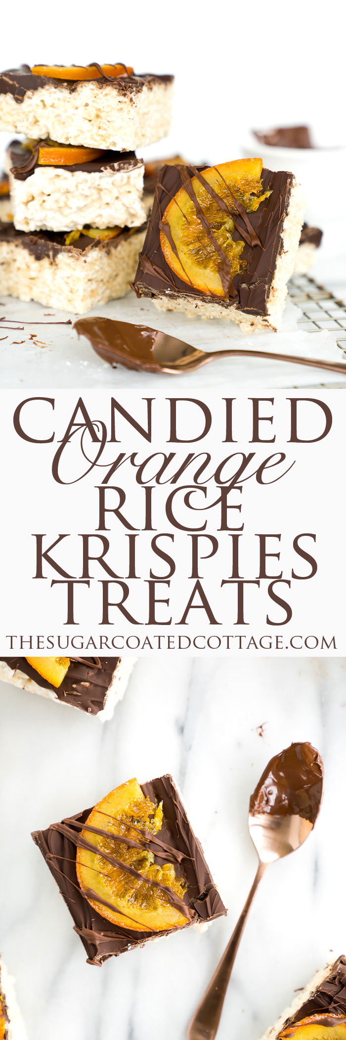 Candied Orange Chocolate Rice Krispies Treats Recipe. Gooey, marshmallowy Rice Krispies Treats smothered in a coating of chocolate and adorned by slices of candied oranges. There's no other way to eat a childhood classic. | thesugarcoatedcottage.com | #ricekrispiestreats #barcookies #recipe #dessert