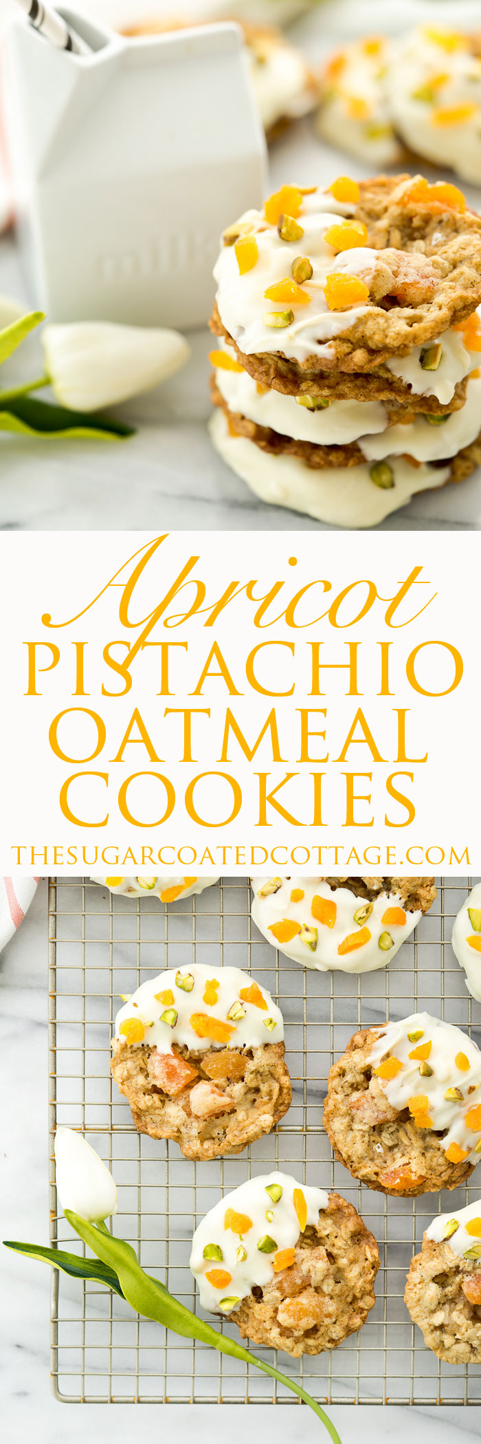 Apricot Pistachio Oatmeal Cookies. These oatmeal cookies are studded with rough chopped dried apricots and roasted, salted pistachios. | thesugarcoatedcottage.com #cookie #recipe #oatmealcookie #apricots #pistachio