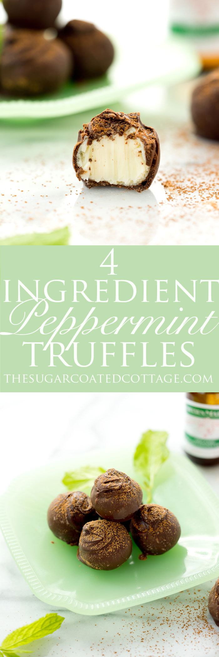 4 Ingredient Peppermint Truffles. The best peppermint truffles! | #nobake #recipe #chocolate #candy | thesugarcoatedcottage.com