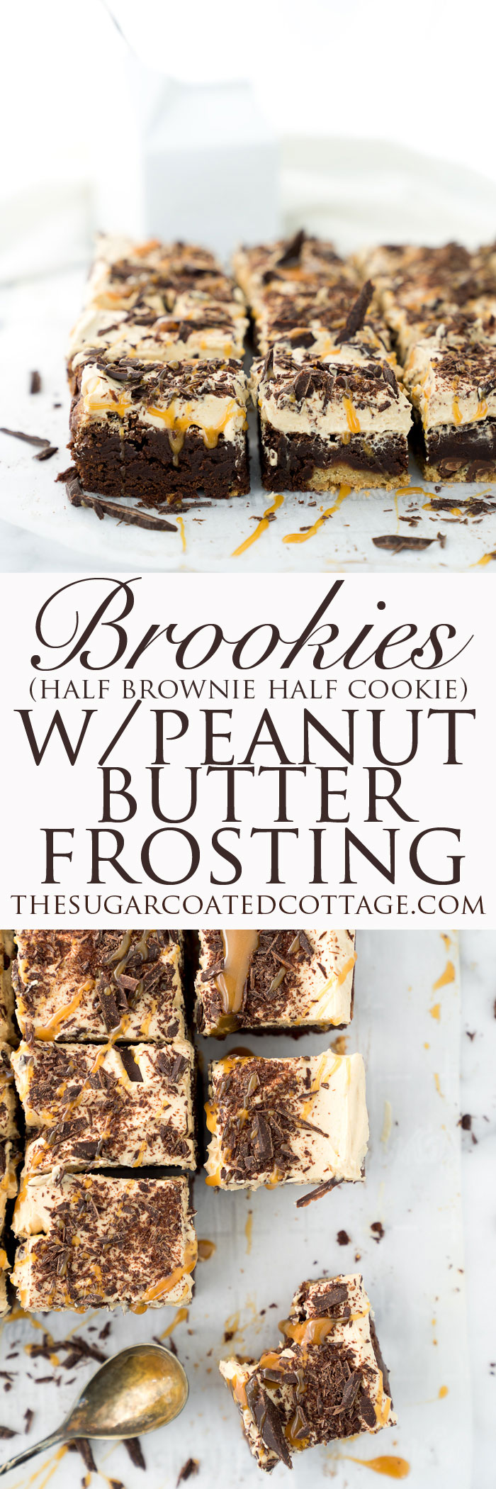 THE BEST BROOKIES ever! Half brownie, half chocolate chip cookie, whipped peanut butter frosting! | thesugarcoatedcottage.com | #brookies #brownies #peanut