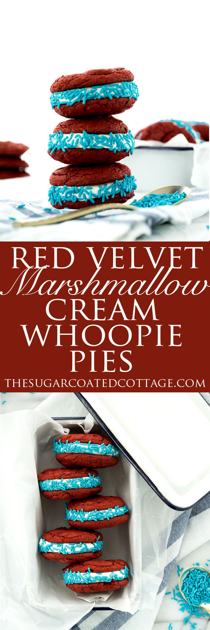 Red Velvet Marshmallow Cream Whoopie Pies. Delicious and easy to make!! | thesugarcoatedcottage.com #recipe #cake #whoopiepie #duncanhines