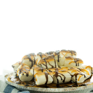 S'mores Chocolate Chiffon Pie! A campfire classic made into a pie. Creamy chocolate filling, toasted marshmallows for the win! | thesugarcoatedcottage.com