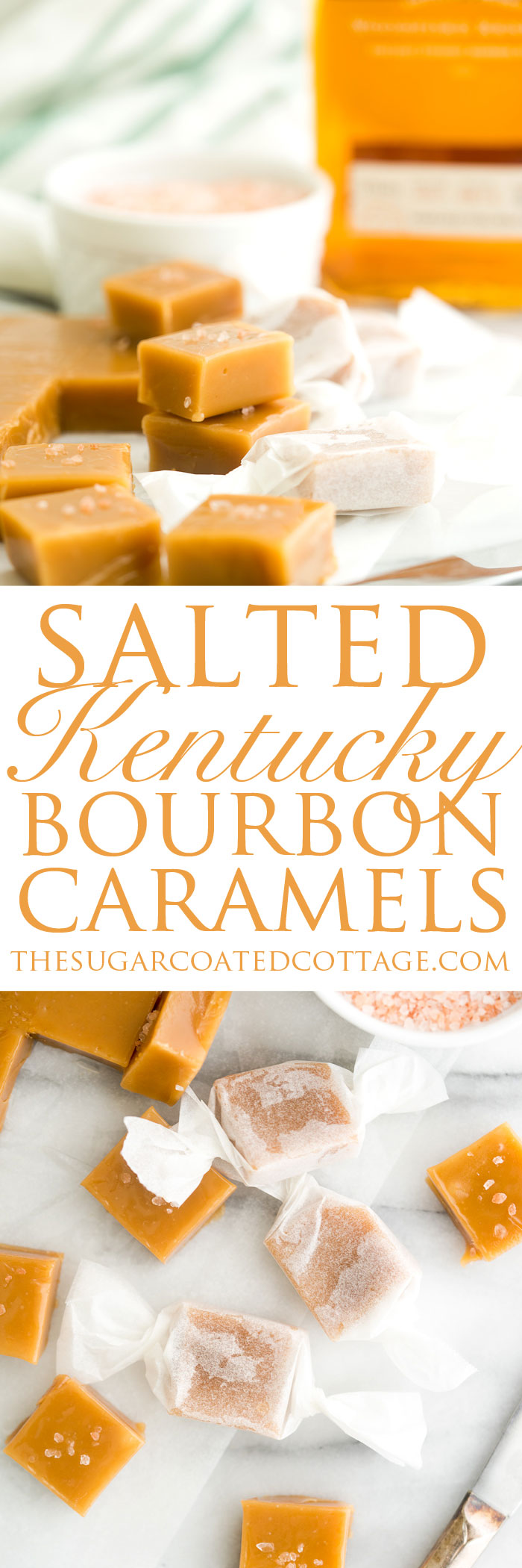 Salted Kentucky Bourbon Caramels. Sticky, gooey, bourbon enhanced caramel candy. An addicting candy classic. | thesugarcoatedcottage.com #caramel #candy