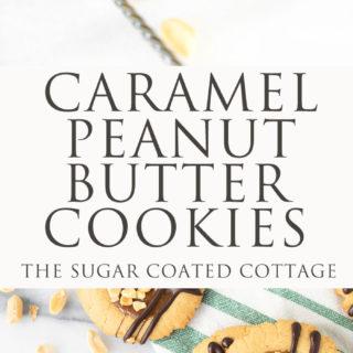 Caramel Peanut Butter Cookies. Crispy edged soft peanut butter cookies with a pool of caramel and chocolate drizzle. Cookies, peanut butter, caramel | thesugarcoatedcottage.com